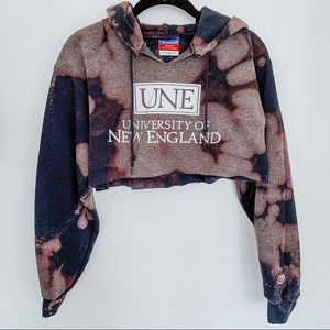 UNE Champion Bleached Tie Dye Cropped Hoodie